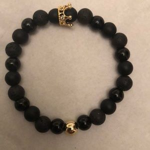 Real lava stone bracelet with golden crown